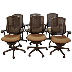 Set of Six Herman Miller Celle Adjustable Swivel Office Chairs