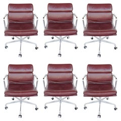 Set of Six Herman Miller Soft Pad Leather Chairs, Mid Century