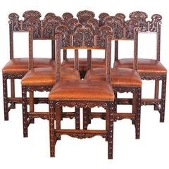 Set of Six Highly-Carved Walnut Dining Chairs