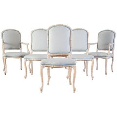 Set of Six Hollywood Regency Faux Bamboo Dining Chairs
