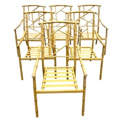 Set of Six Hollywood Regency Faux Bamboo Garden Chairs