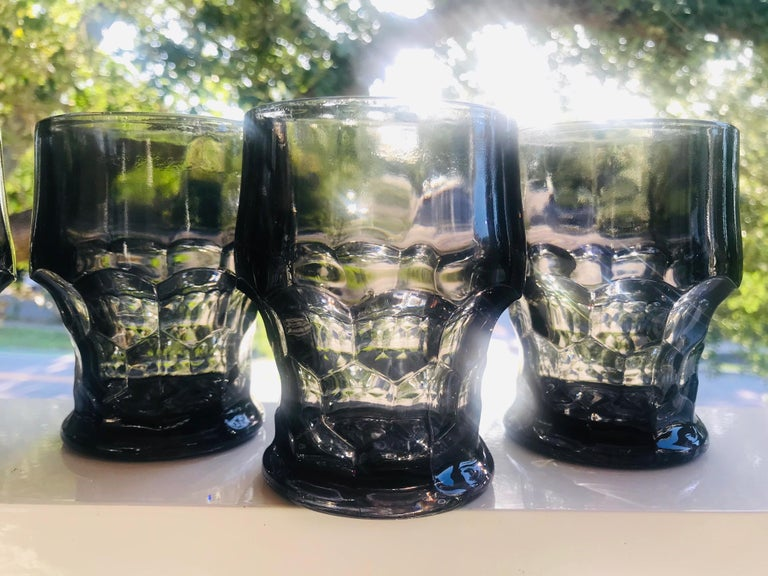 Molded Set of Six Hollywood Regency Gothic Black Barware Rock Glasses, 1960s For Sale