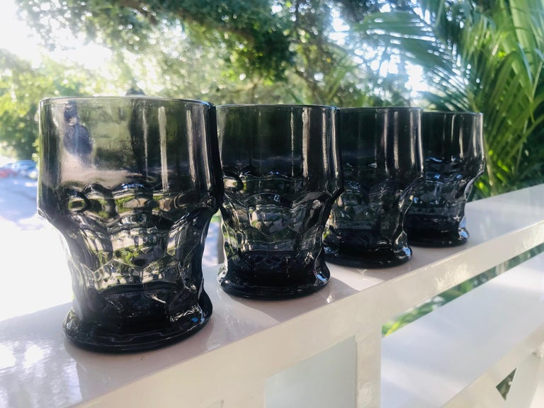 Set of Six Hollywood Regency Gothic Black Barware Rock Glasses, 1960s For Sale 1