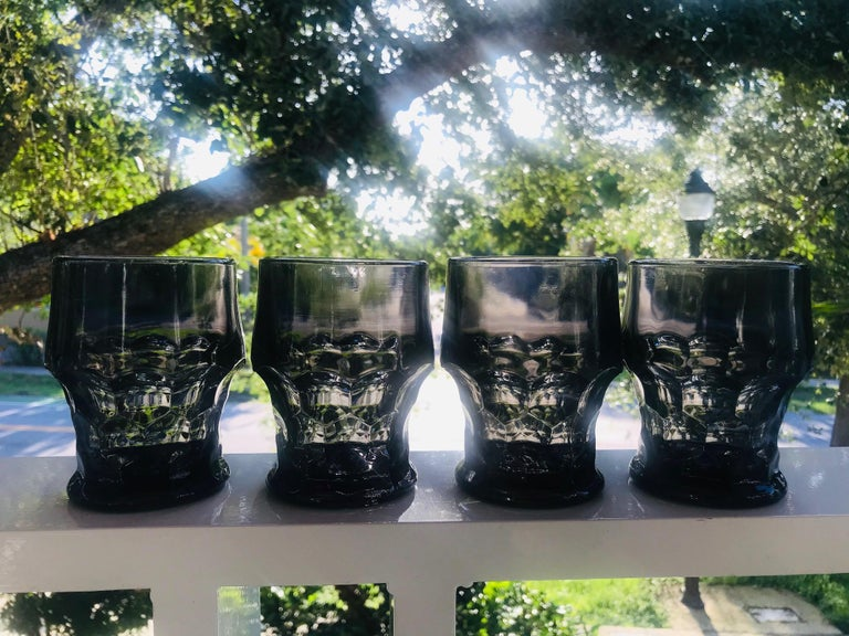 Set of Six Hollywood Regency Gothic Black Barware Rock Glasses, 1960s For Sale 2