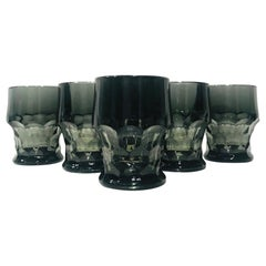 Set of Six Hollywood Regency Gothic Black Barware Rock Glasses, 1960s