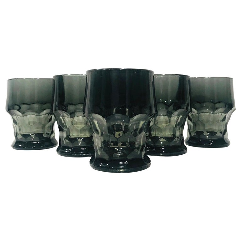 Set of Six Hollywood Regency Gothic Black Barware Rock Glasses, 1960s For Sale