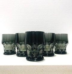 Set of Six Hollywood Regency Gothic Black Barware Rock Glasses, 1960's