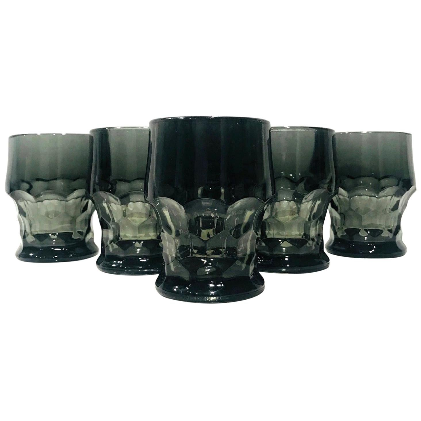 Set of Six Hollywood Regency Gothic Style Barware Glasses in Black, circa 1960s