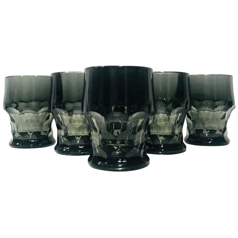 Set of Six Hollywood Regency Gothic Style Barware Glasses in Black, circa 1960s For Sale