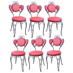 Set of Six Hollywood Regency Red Wrought Iron Ice Cream Parlor Dining Chairs