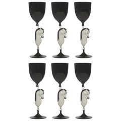 Set of Six Horse Murano Wine Glasses #1