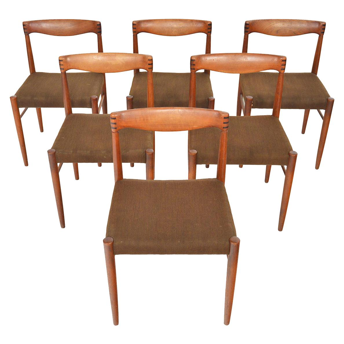 Set of Six H.W. Klein Danish Modern Teak and Rosewood Dining Chairs by Bramin