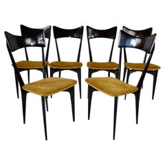Set of Six Ico and Luisa Parisi Ebonized Dining Chairs by Ariberto Colombo, 1952