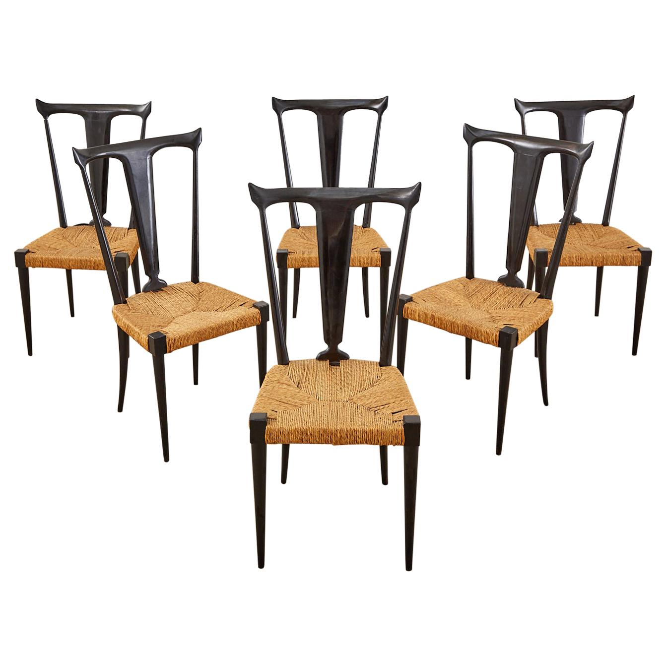 Set of Six Ico Parisi Italian Midcentury Lacquered Dining Chairs
