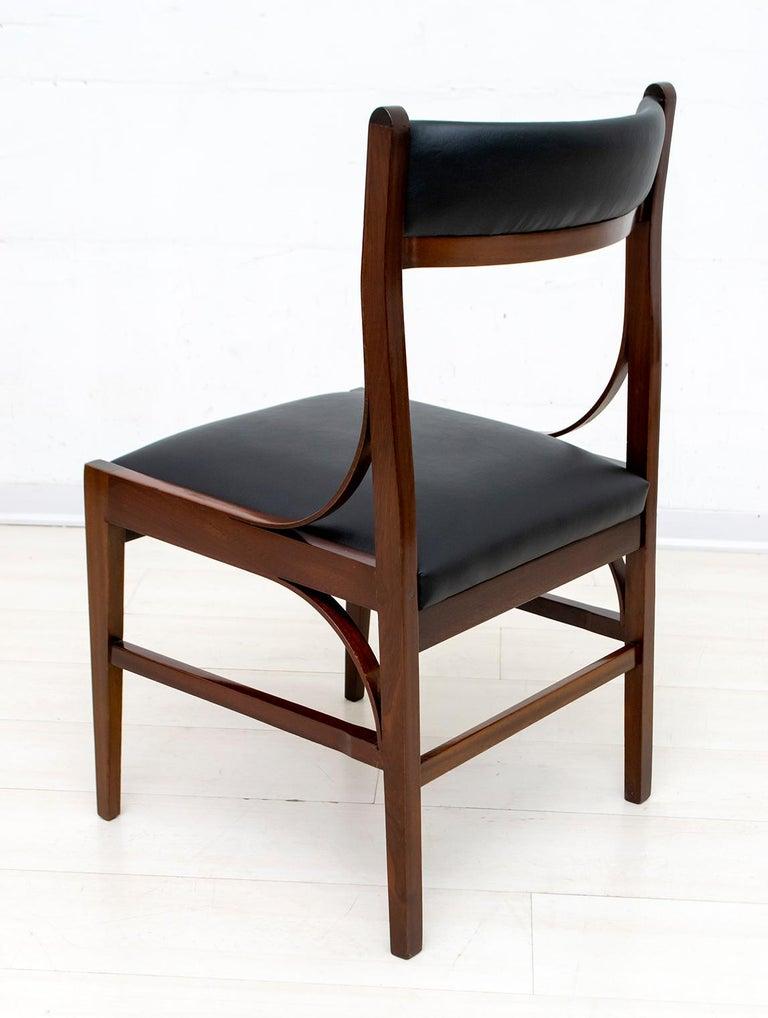 Set of Six Ico Parisi Mid-Century Modern Italian Mahogany Dining Chairs, 1960s For Sale 5