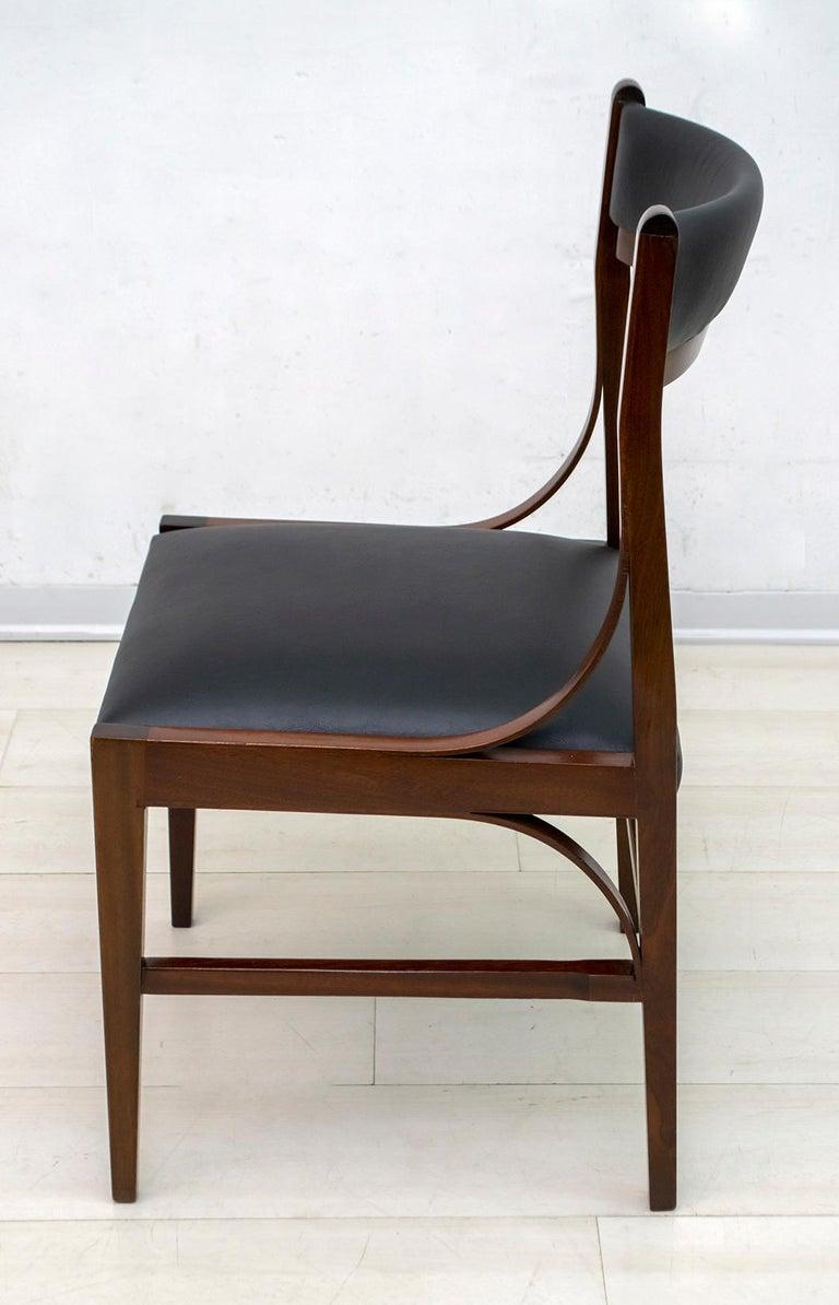 Set of Six Ico Parisi Mid-Century Modern Italian Mahogany Dining Chairs, 1960s For Sale 7
