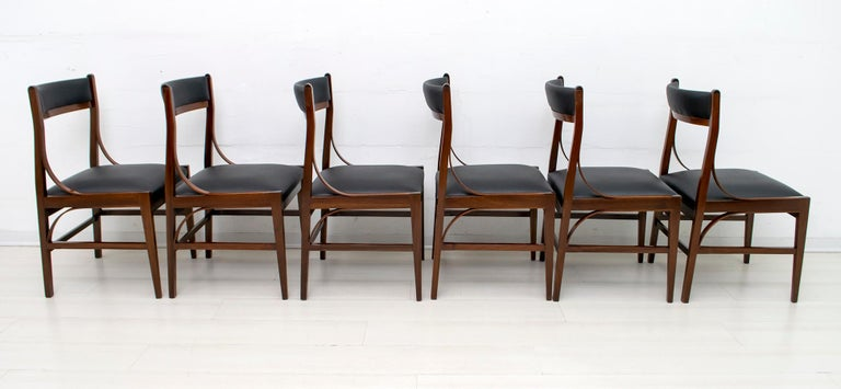 Set of Six Ico Parisi Mid-Century Modern Italian Mahogany Dining Chairs, 1960s In Good Condition For Sale In Cerignola, Italy Puglia