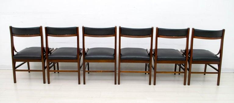 Mid-20th Century Set of Six Ico Parisi Mid-Century Modern Italian Mahogany Dining Chairs, 1960s For Sale