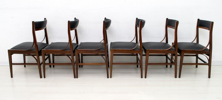 Leather Set of Six Ico Parisi Mid-Century Modern Italian Mahogany Dining Chairs, 1960s For Sale