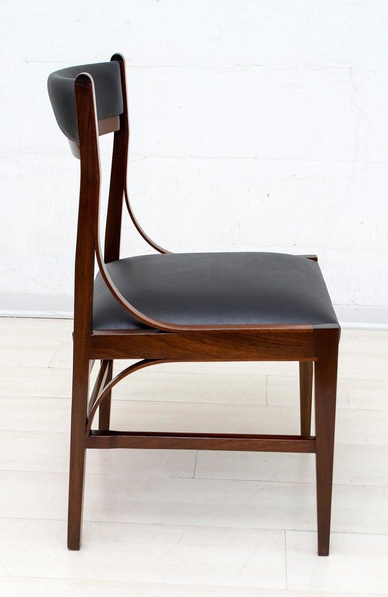 Set of Six Ico Parisi Mid-Century Modern Italian Mahogany Dining Chairs, 1960s For Sale 2