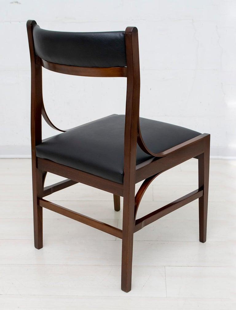 Set of Six Ico Parisi Mid-Century Modern Italian Mahogany Dining Chairs, 1960s For Sale 3