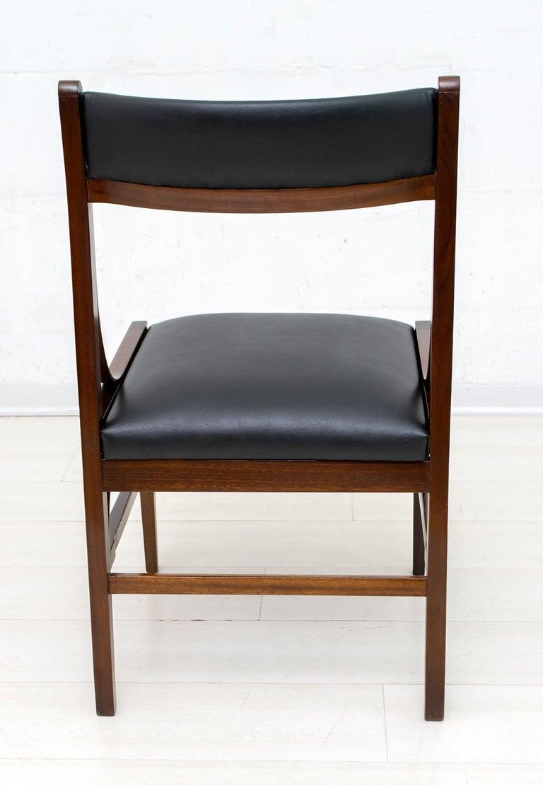Set of Six Ico Parisi Mid-Century Modern Italian Mahogany Dining Chairs, 1960s For Sale 4