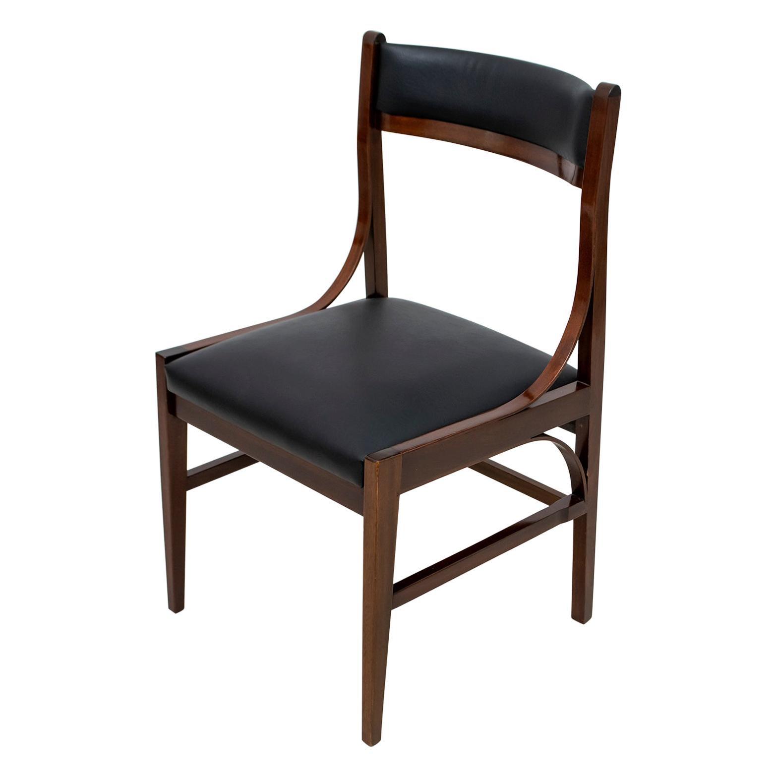 Set of Six Ico Parisi Mid-Century Modern Italian Mahogany Dining Chairs, 1960s