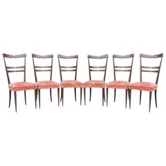 Set of Six Ico Parisi Style Dinning Chairs, 1950s