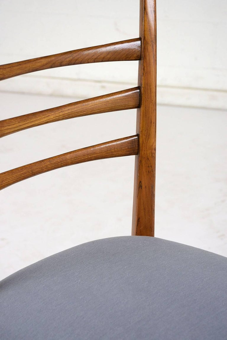 Set of Six Ico Parisi Style Italian Dining Chairs For Sale 3