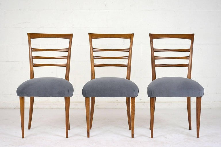 Carved Set of Six Ico Parisi Style Italian Dining Chairs For Sale