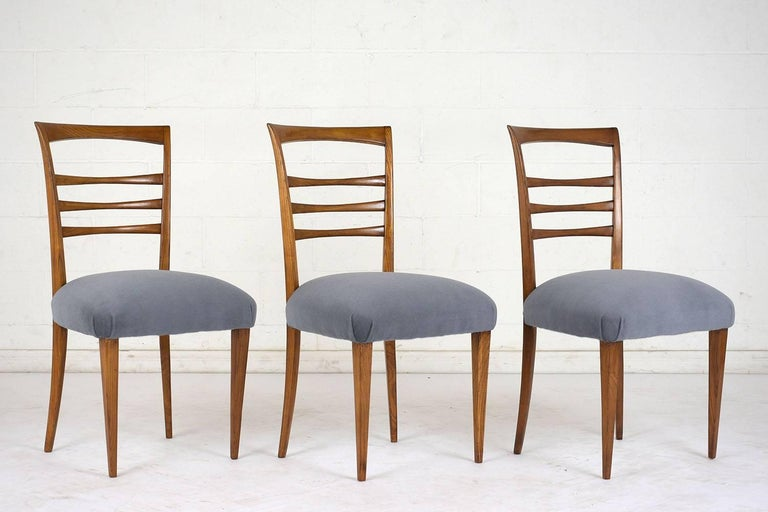Set of Six Ico Parisi Style Italian Dining Chairs In Excellent Condition For Sale In Los Angeles, CA