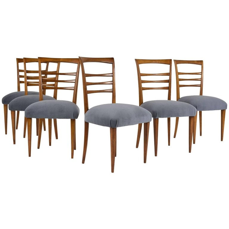 Set of Six Ico Parisi Style Italian Dining Chairs For Sale