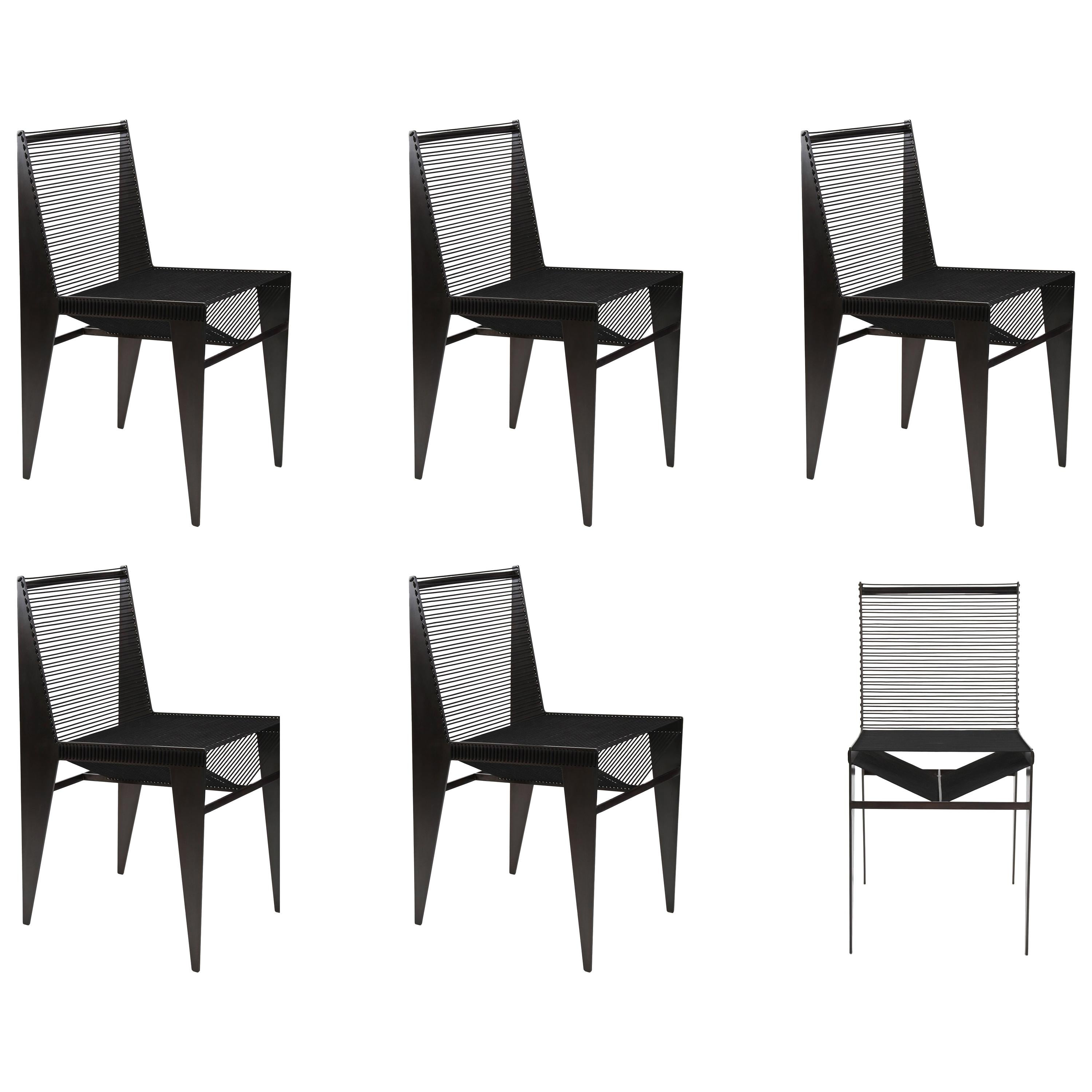 Set of 6 ICON Chairs in Steel and Rope by Christopher Kreiling Studio
