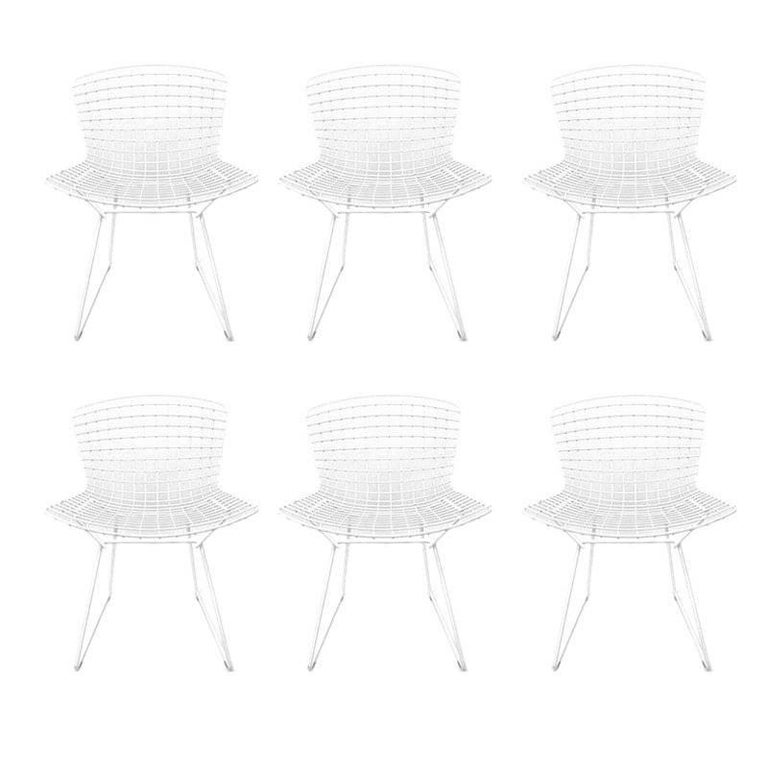 Set of Six Iconic Harry Bertoia White Powder Coated Side Chairs Stamped Knoll