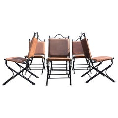 Set of Six Ilana Goor Leather and Iron Dining Chairs