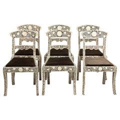 Set of Six Indian Bone Inlaid Chairs