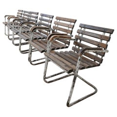 Set of Six Industrial French Garden Chairs