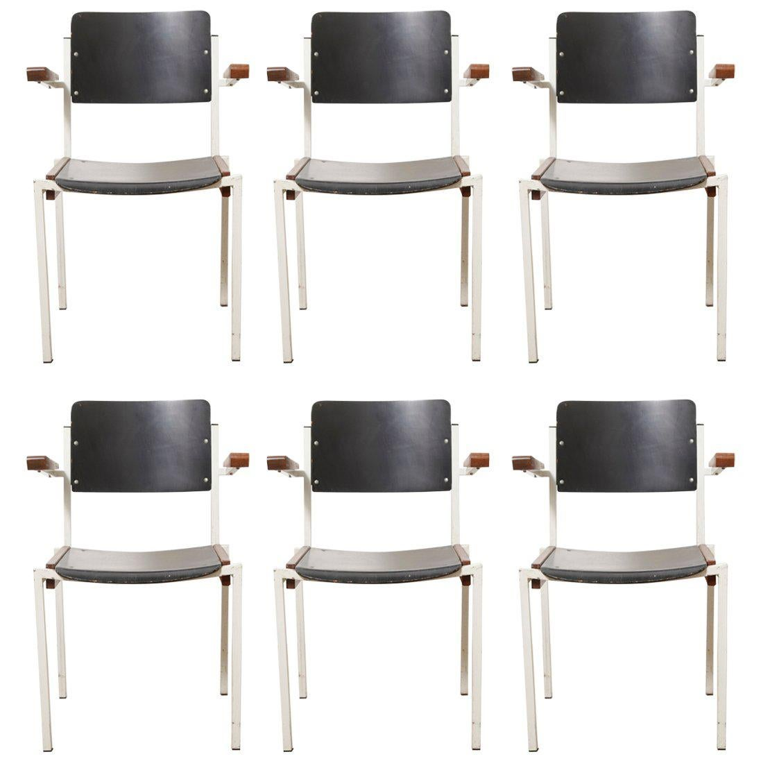 Set of Six Industrial Stacking Armchairs by W. Gispen for Riemersma, 1950s