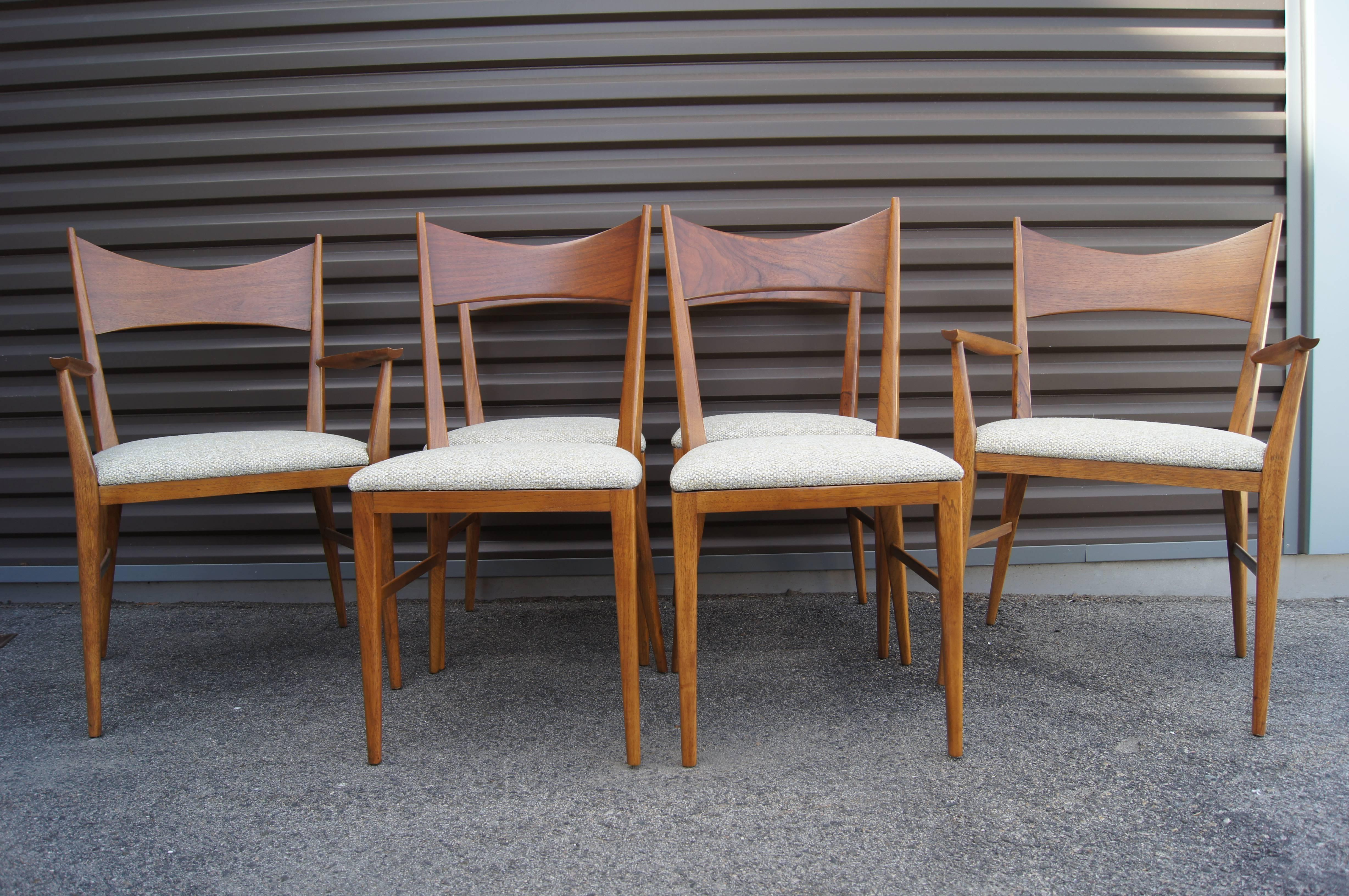 Paul McCobb Designed This Set Of Six Sculptural Walnut Chairs As Part Of  His Irwin Group