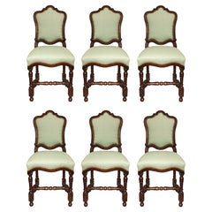 Set of Six Italian 18th Century Louis XIV Period Walnut Dining Chairs