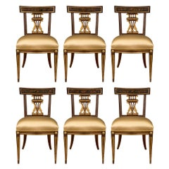 Set of Six Italian 18th Century Louis XVI Period Walnut and Hand Painted Chairs