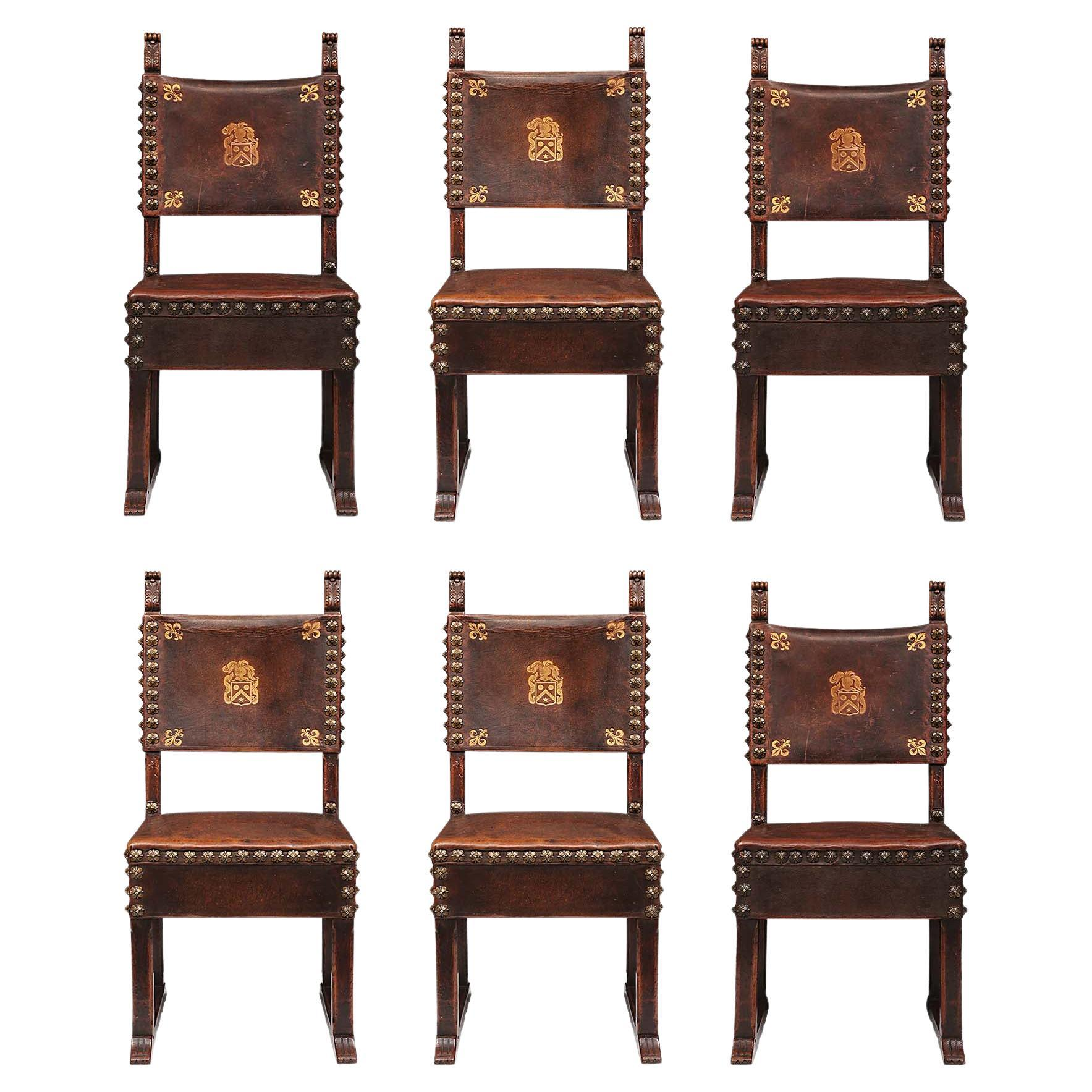 Set of Six Italian 18th Century Walnut and Leather Side Chairs