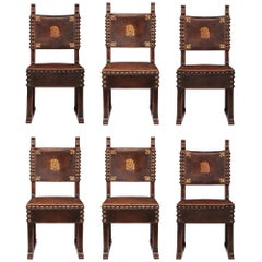Set of Six Italian 18th Century Walnut and Original Pressed Leather Side Chairs
