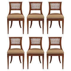 Set Of Six Italian 19th Century Directoire Style Olive Wood Dining Chairs