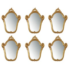 Set of Six Italian 19th Century Giltwood Venetian Mirrors
