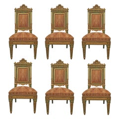 Set of Six Italian 19th Century Louis XVI Style Giltwood Dining Chairs