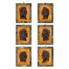 Set of Six Italian 19th Century Marble Wall Plaques of Roman Emperors