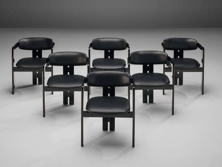Set of six dining chairs, wood, leather, Italy, 1970s 