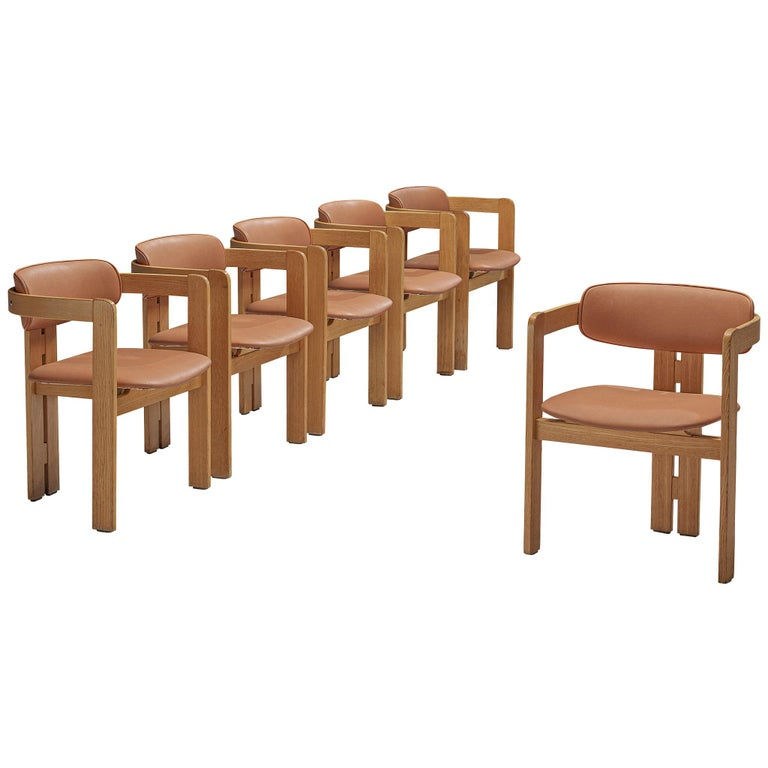 Set of six dining chairs, beech, leatherette, Italy, 1970s  This set of six Italian dining chairs has a strong resemblance to Augusto Savinis 'Pamplona' Chair (1965) and Afra & Tobia Scrapas 'Pigreco' chair (1959/60) yet the designs are different