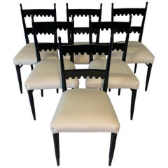 Set of Six Italian Black and Ivory Dining Chairs by Pier Luigi Colli
